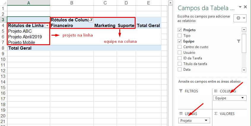 timesheet tabela dinamica